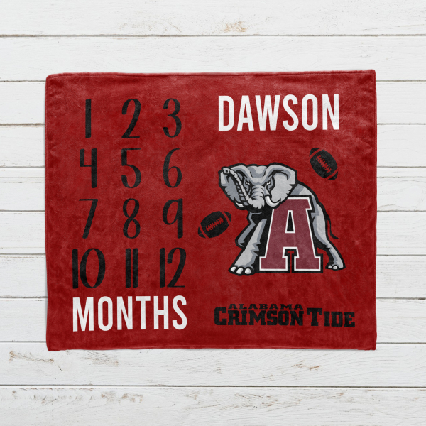 Personalized Football Monthly Milestone Blanket