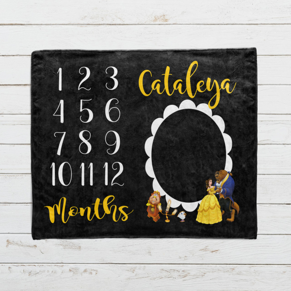 Personalized Beauty and the Beast Milestone Blanket
