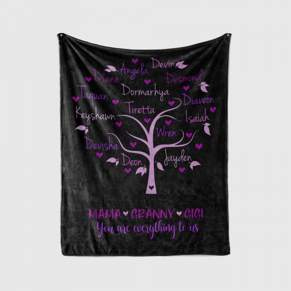 Family tree blanket with names