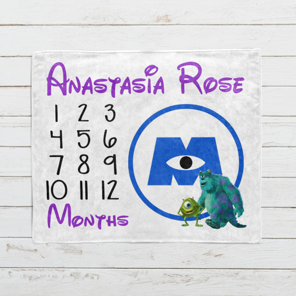 Personalized Monsters Inc Monthly Milestone Blanket