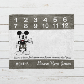 Personalized Mickey Mouse Monthly Milestone Blanket