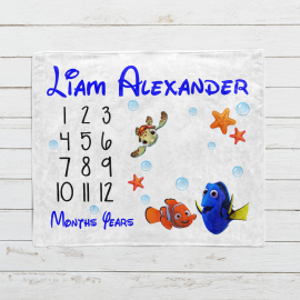 Personalized Finding Nemo Monthly Milestone Blanket