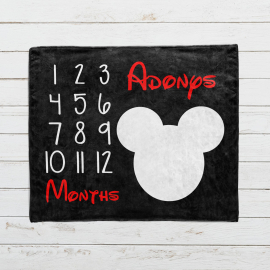 Personalized Mickey Mouse Milestone Blanket