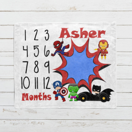 Personalized Super Hero Monthly Milestone Blanket