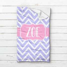 Custom Monogrammed Chevron Minky Sleeping Bag