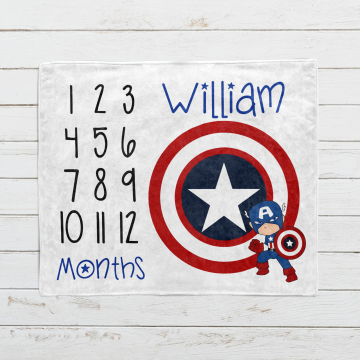 Personalized Captain America Monthly Milestone Blanket