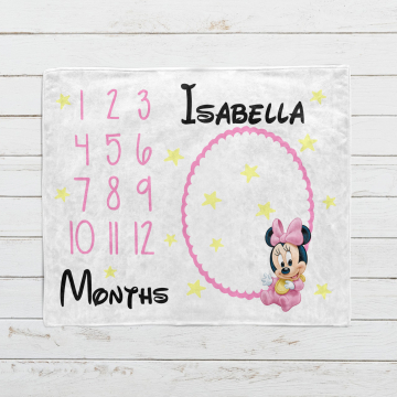 Personalized Baby Minnie Mouse Milestone Blanket