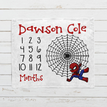 Personalized Spiderman Month Milestone Blanket