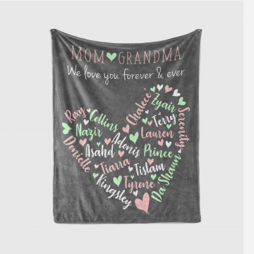 Family Names in a Heart Design Blanket Throw