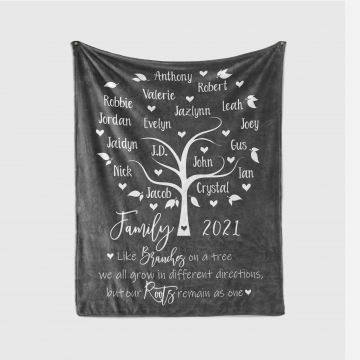 Personalized Family Tree Blanket Throw