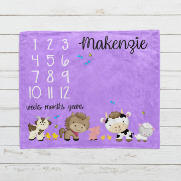Personalized Baby Farm Animals Milestone Blanket