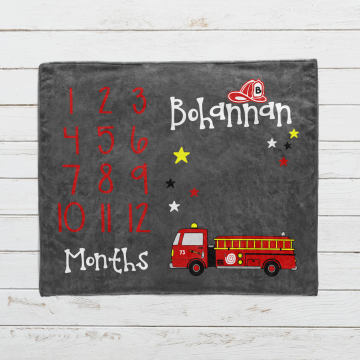 Personalized Fire Truck Milestone Blanket