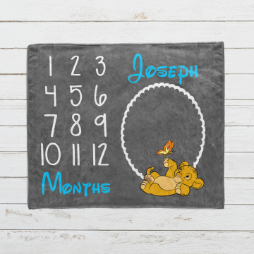 Personalized Lion King Milestone Blanket