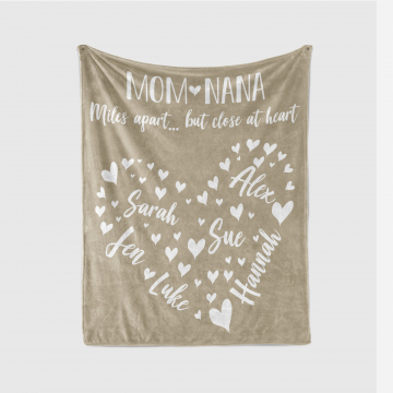 Personalized Family Names Heart Blanket