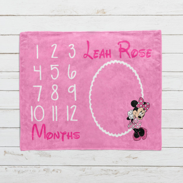 Personalized Minnie Mouse Milestone Blanket