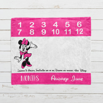 Personalized Minnie Mouse Monthly Milestone Blanket