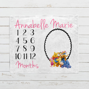 Personalized Winnie the Pooh and Friends Milestone Blanket
